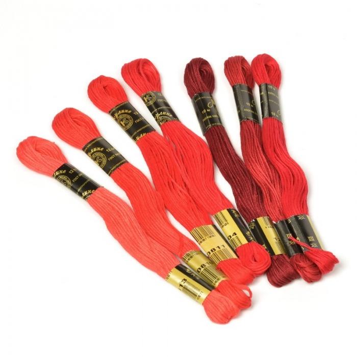 Нитки мулине Цветик-семицветик 10м арт. ПНК набор 7 мотков №3-красный лепесток