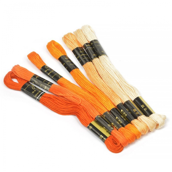 Нитки мулине Цветик-семицветик 10м арт. ПНК набор 7 мотков №2-оранжевый лепесток