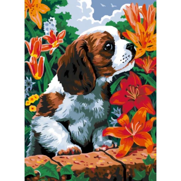Картины по номерам Белоснежка арт.БЛ.003-CE Щенок и лилии 30х40 см