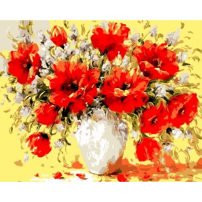 Картины по номерам Букет маков ME1015 30х40 тм Цветной