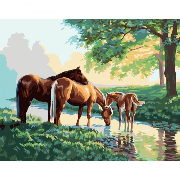 Картины по номерам Белоснежка арт.БЛ.633-AB Скакуны на водопое 40х50 см