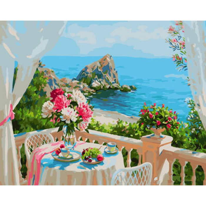 Картины по номерам Балкончик с видом на море GX29309 40х50 тм Цветной