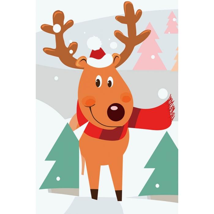 Живопись по номерам Олень рождественский MC1091 20х30 тм Цветной