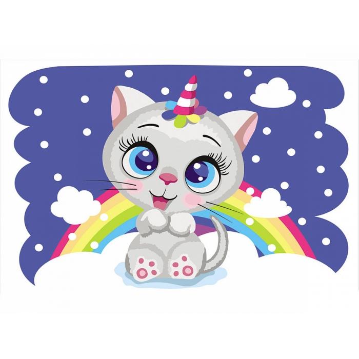 Живопись по номерам Радужный котенок MC1106 20х30 тм Цветной