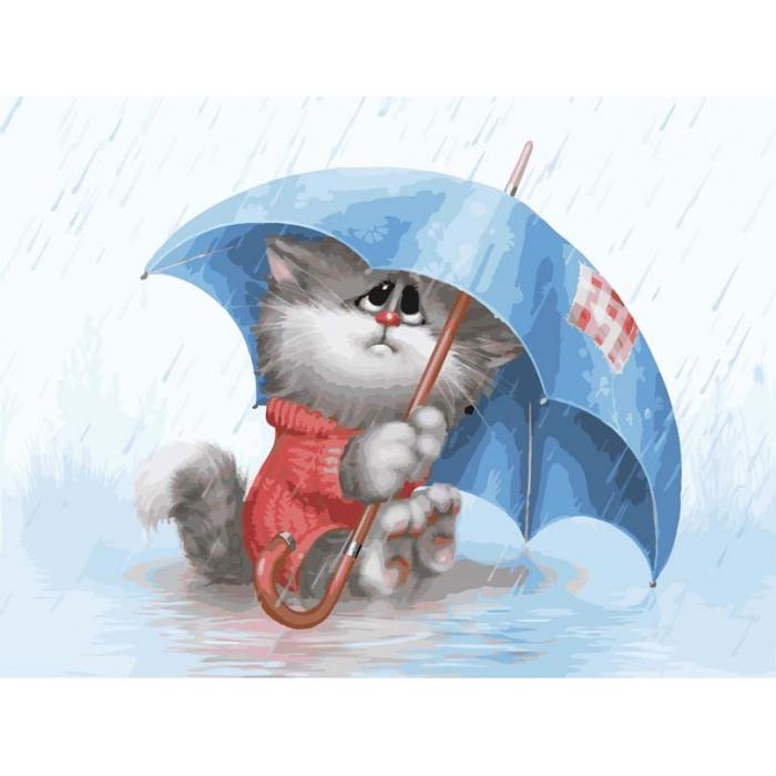 Картины по номерам Белоснежка арт.БЛ.738-AS Кошарик под дождём 30х40 см