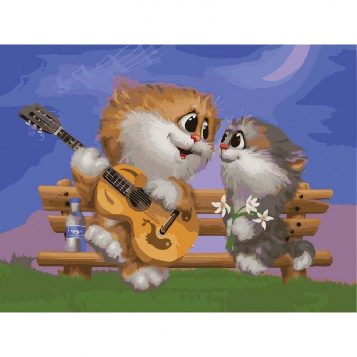 Картины по номерам Белоснежка арт.БЛ.743-AS Песни под гитару 30х40 см