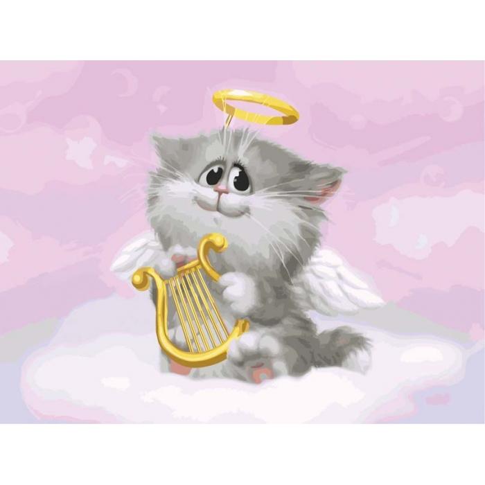 Картины по номерам Белоснежка арт.БЛ.744-AS Котёнок-ангелочек 30х40 см