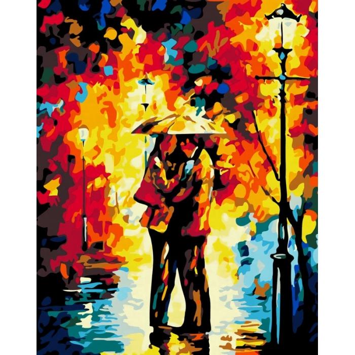 Картины по номерам Белоснежка арт.БЛ.869-AB Поцелуй под дождем 40х50 см