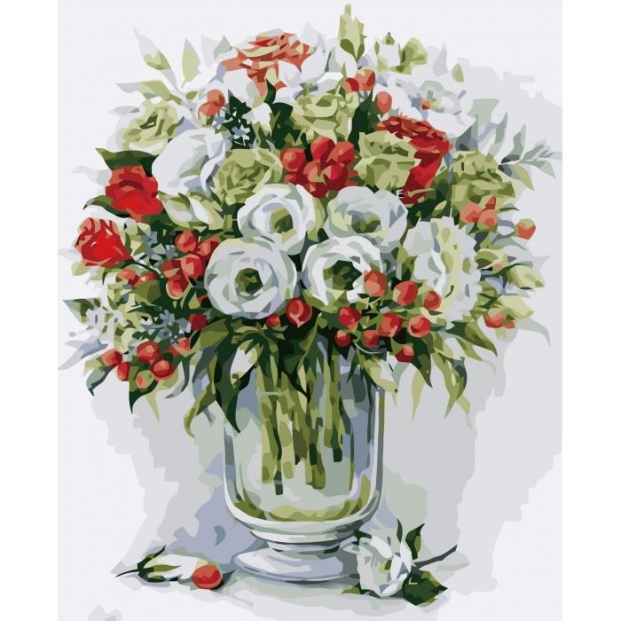 Картины по номерам Букет с красными ягодами MG2103 40х50 тм Цветной